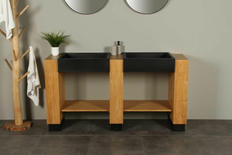 Badezimmermöbel Galunggung Double mit Waschbecken Terrazzo 168 cm zk