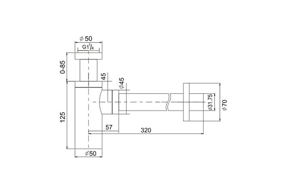 Design Siphon kupfer 1¼ BE-I200CO