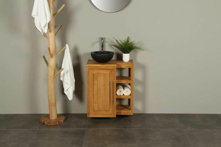WC-Möbel Hängeschrank Kerinci Teakholz 60 cm Tür Links