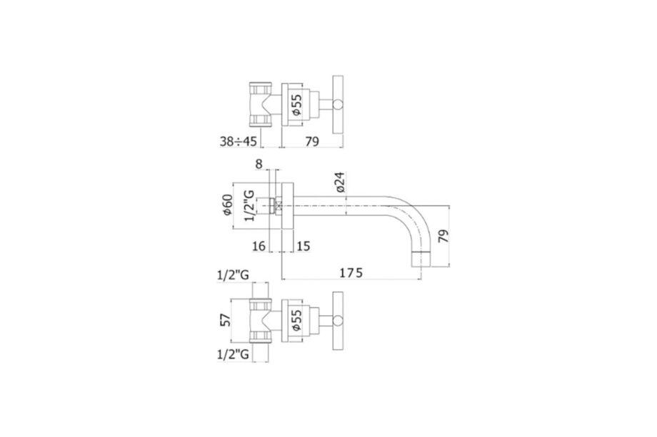 Paffoni Quattro Dreilochbatterie Ausladung 175 mm Chrom