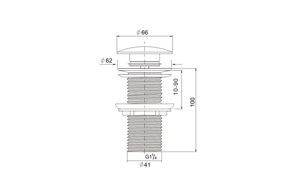 Ablaufventil mit druckverschluss kupfer BE-I100 CO