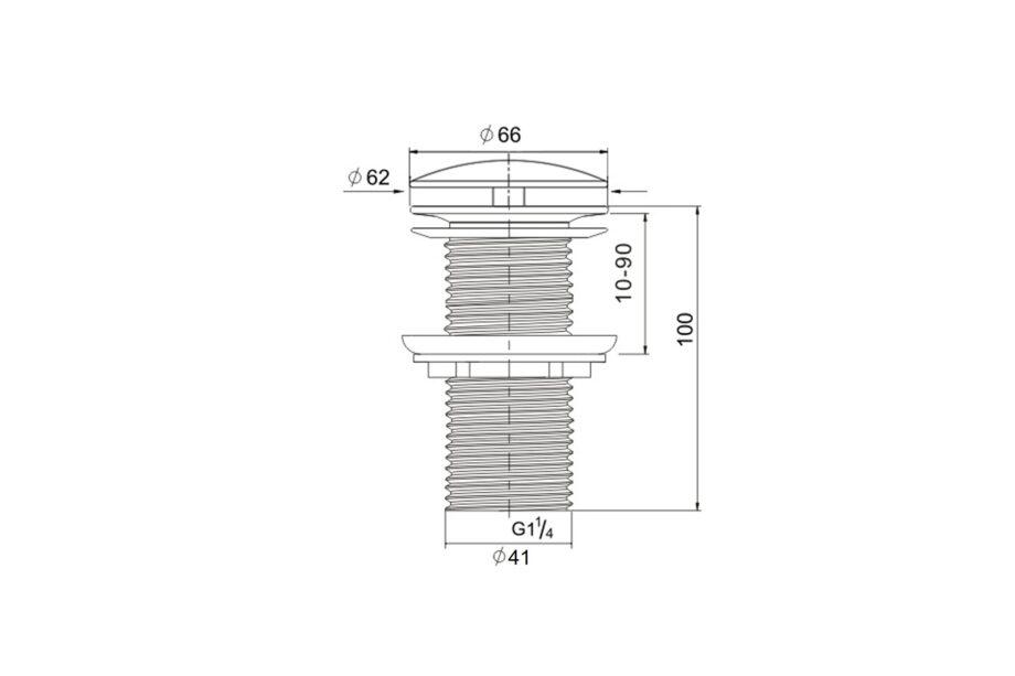 Ablaufventil ohne Druckverschluss Chrom BE-I110 C