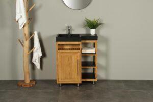 Kerinci Cabinet Teakholz Tür Links Terrazzo Waschbecken 75 cm