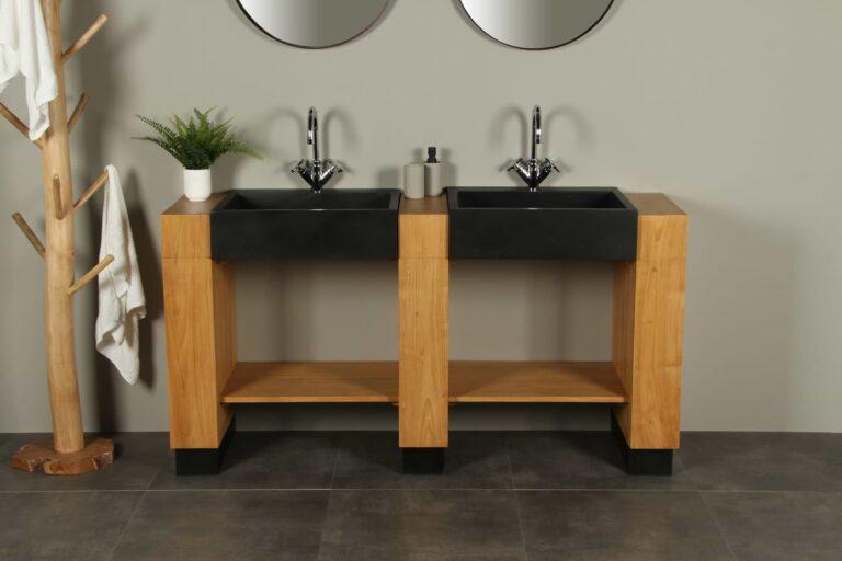 Badezimmermöbel Galunggung Double Teakholz mit Waschbecken Terrazzo 168 cm 2k