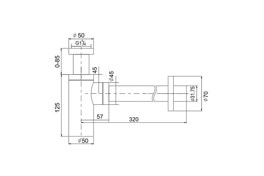 Design Siphon matt black 1¼ BE-I200 B