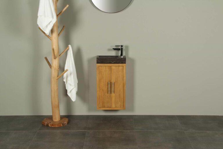 Gäste WC Möbel Manuk 38 cm mit Hartsteinen Waschbecken