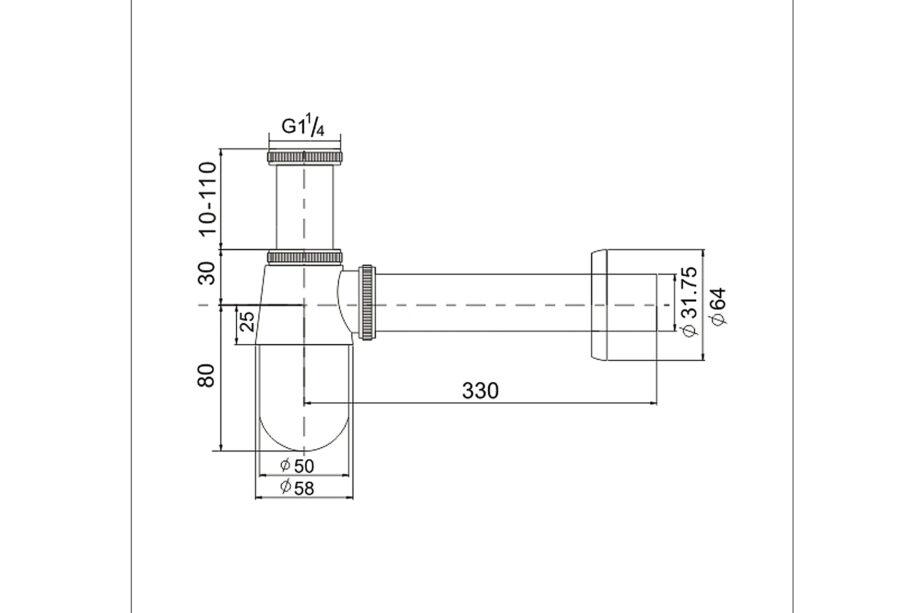 Siphon Standart Verchromt 1¼ BE-I210