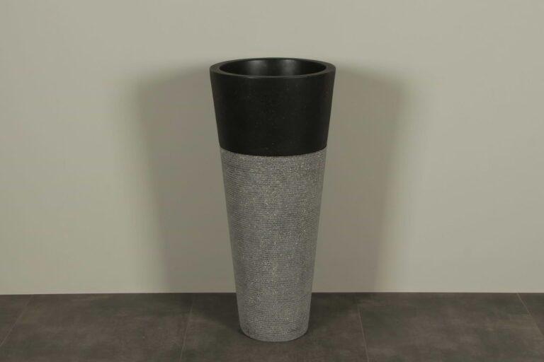 Waschsäule Schwarz 90 cm Terrazzo Waschbeckensäule TZS PS01