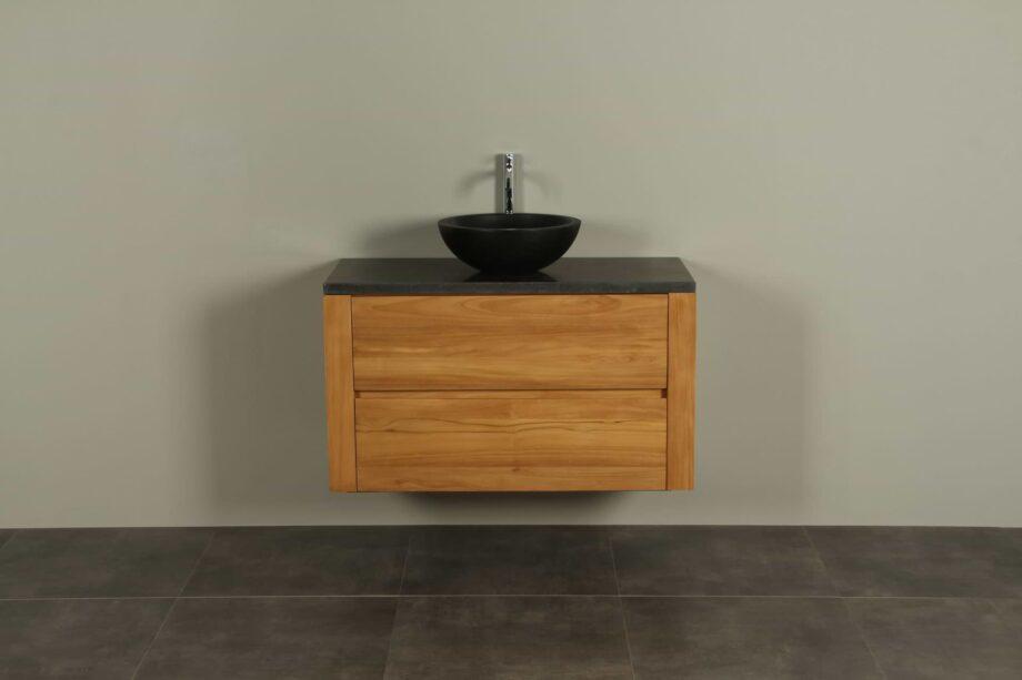 Badmöbel Teakholz Batur 100 cm mit Hartstein Tischplatte