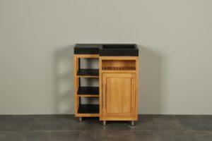 Kerinci Cabinet Teakholz WaschtischTür Rechts Terrazzo Waschbecken 75 cm