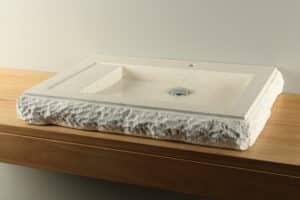 Aufsatzwaschbecken creme 70 cm aus Terrazzo Handwaschbecken TZS 033T