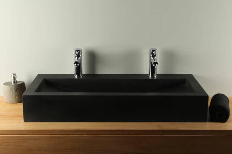 Waschtisch schwarz 90 cm Terrazzo Waschbecken TZS 034S2k