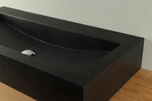 Terrazzo Aufsatz-Waschbecken schwarz 90 cm TZS 034Szk