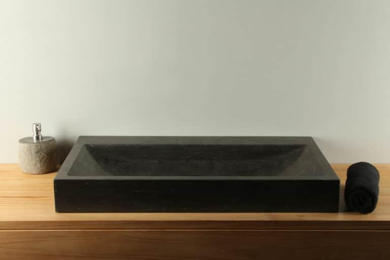 Waschbecken Naturstein Bluestone  BE-036zk 80 cm Aufsatzwaschbecken