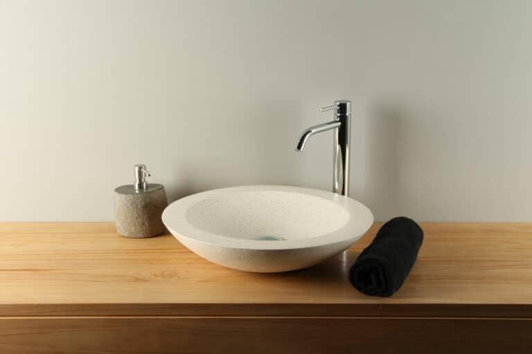 Waschschale Creme Ø 45 cm Handwaschbecken Terrazzo TZS 017S