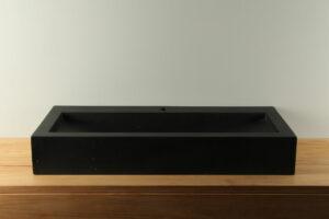 Terrazzo Aufsatzwaschbecken schwarz 90 cm TZS 034S1k